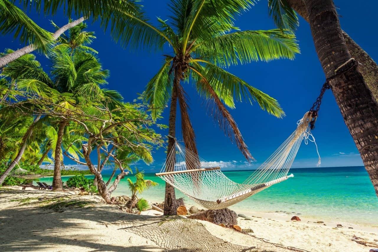 Fiji hammock on the beach